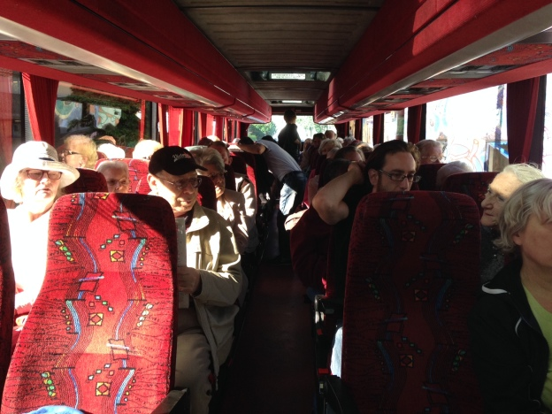 A coachload of people ready to go...